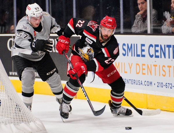 Grand Rapids Griffins C Wade Megan handles the puck against the San Antonio Rampage