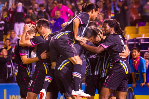 Las Vegas Lights FC celebrates one of its four second half goals in a 5-2 victory over Phoenix Rising FC