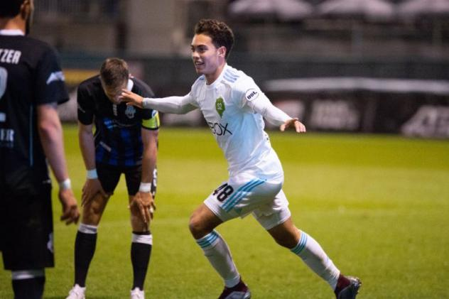 Alec Diaz of Sounders FC 2 celebrates his first professional goal