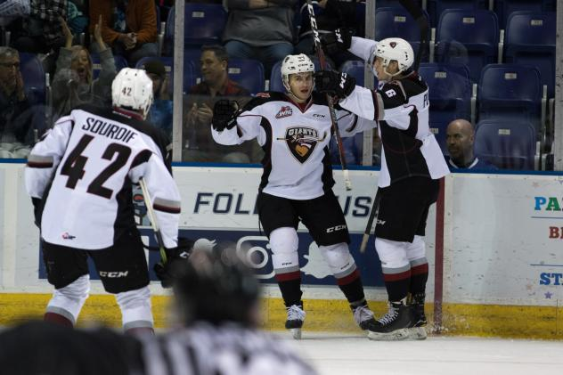 Milos Roman and the Vancouver Giants celebrate a goal vs. the Victoria Royals