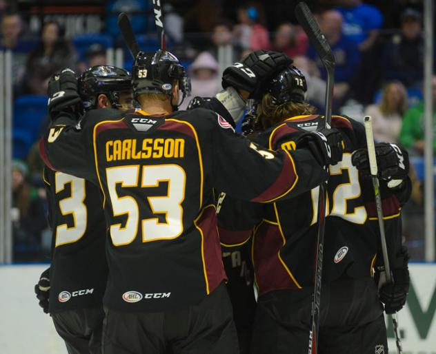 Cleveland Monsters celebrate a goal