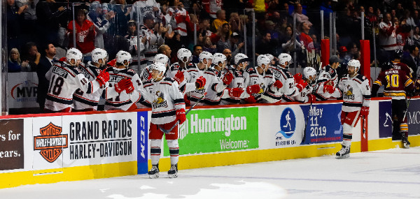 Grand Rapids Griffins exchange high fives with the bench