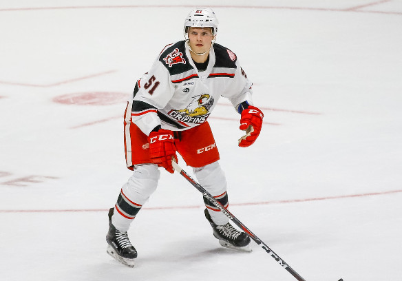 Center Trevor Yates with the Grand Rapids Griffins