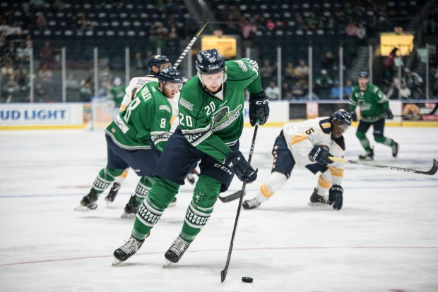 Justin Auger with the Florida Everblades