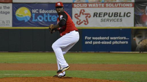 Hickory Crawdads pitcher Demarcus Evans