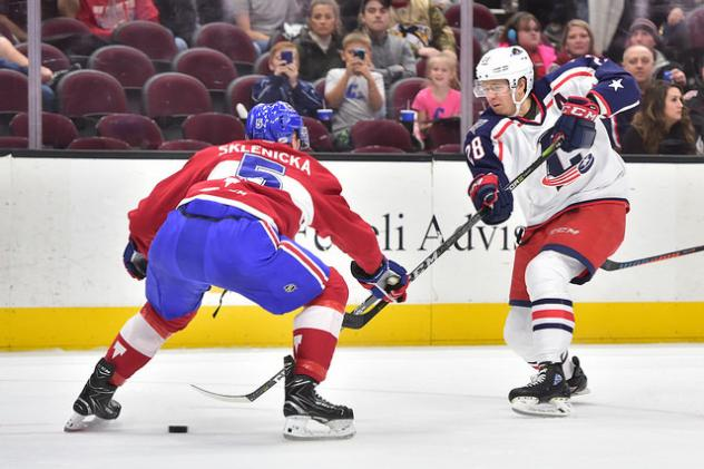 Cleveland Monsters C Zac Dalpe against the Laval Rocket