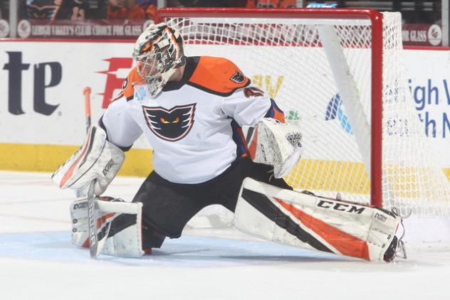 Lehigh Valley Phantoms goaltender Carter Hart vs. the Springfield Thunderbirds