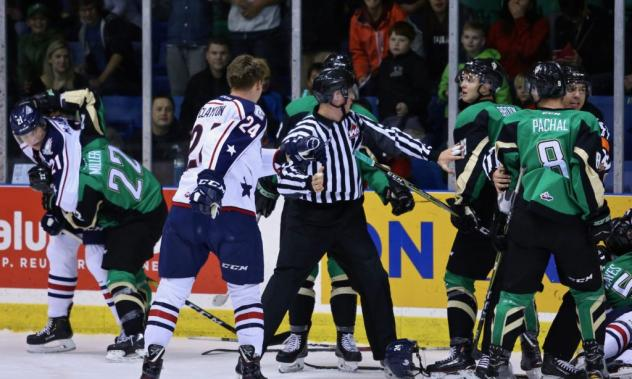 Tri-City Americans battle the Prince Albert Raiders