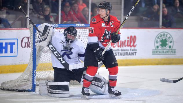 Adirondack Thunder forward James Henry in front of the Reading Royals net