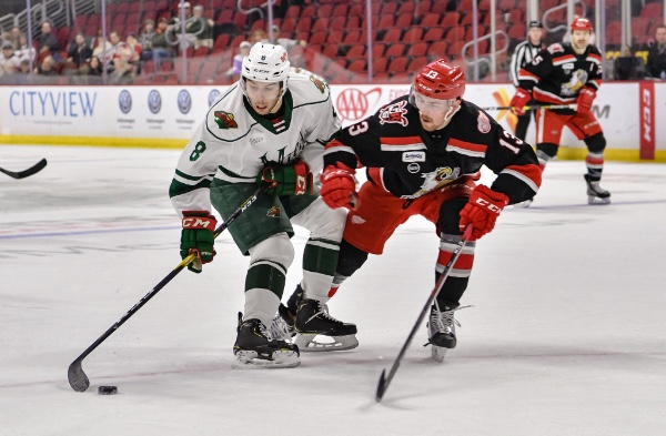 Grand Rapids Griffins defenseman Filip Hronek (right) against the Iowa Wild's Louie Belpedio