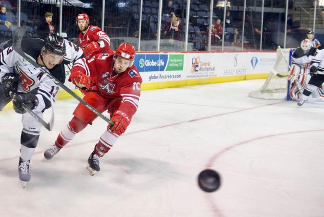 Allen Americans LW Greg Chase pursues the puck against the Rapid City Rush
