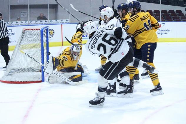 Joe Pendenza of the Manchester Monarchs scores against the Norfolk Admirals