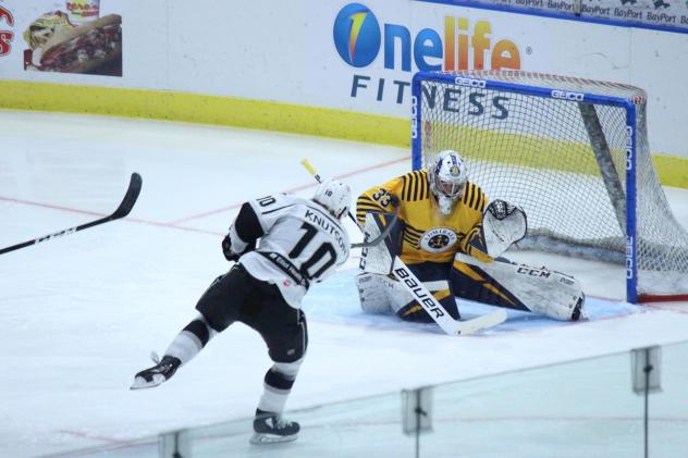 Manchester Monarchs RW Zeb Knutson takes a shot against the Norfolk Admirals