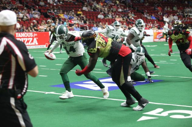 Defensive lineman Keith Jones, Jr. with the Iowa Barnstormers against the Green Bay Blizzard