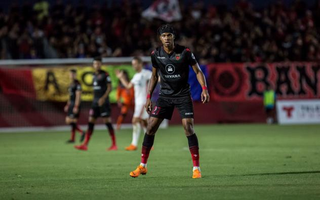 Kevon Lambert of Phoenix Rising FC stares down the opposition during a match at the Phoenix Rising Soccer Complex