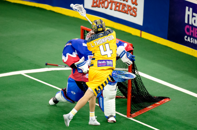 Lyle Thompson of the Georgia Swarm scores against the Toronto Rock