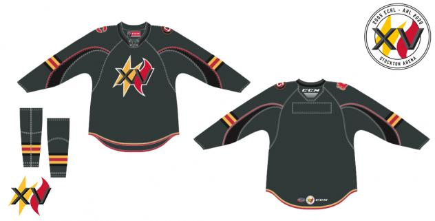 Stockton Heat 15 Year Anniversary jerseys