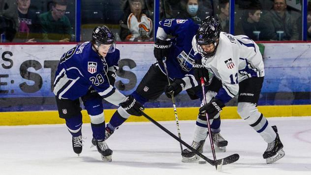 Sioux Falls Stampede forward Ethan Phillips (left) at the 2019 USHL/NHL Top Prospects Game