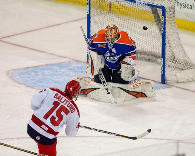 Allen Americans forward Dante Salituro scores against the Wichita Thunder