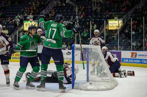 Justin Auger and the Florida Everblades celebrate Auger's goal against the Greenville Swamp Rabbits