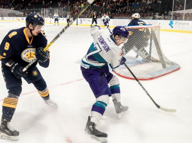 Norfolk Admirals defenseman Chase Harrison (left) vs. the Orlando Solar Bears