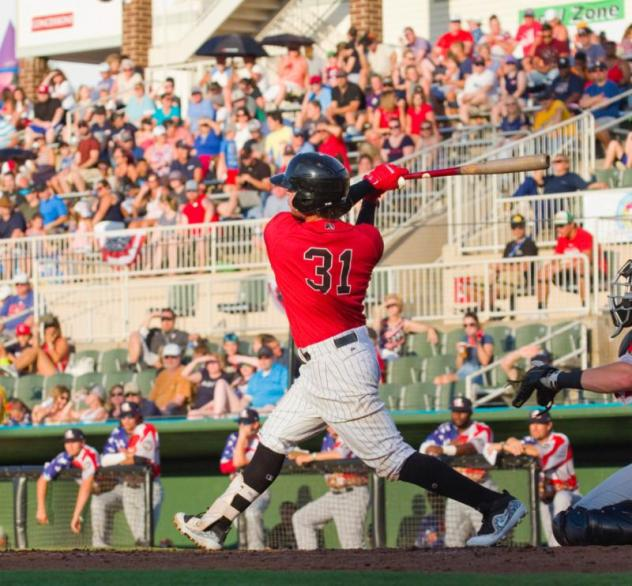 Kannapolis Intimidators with a big swing