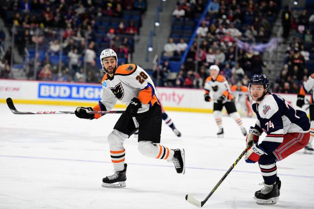 Lehigh Valley Phantoms right wing Justin Bailey against the Hartford Wolf Pack