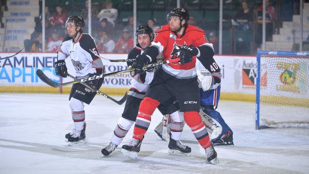 Alex Carrier of the Adirondack Thunder takes on the Brampton Beast