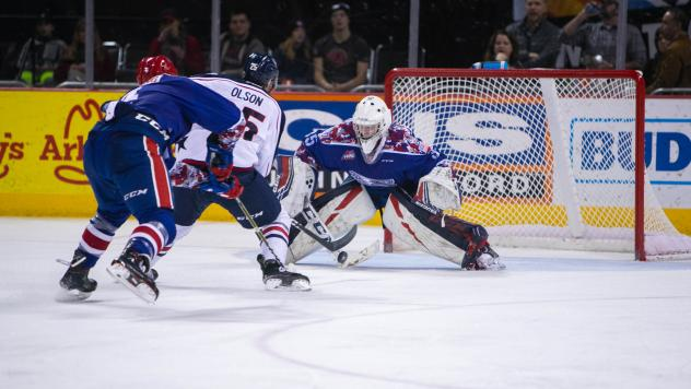Spokane Chiefs goaltender Reece Klassen faces the Tri-City Americans