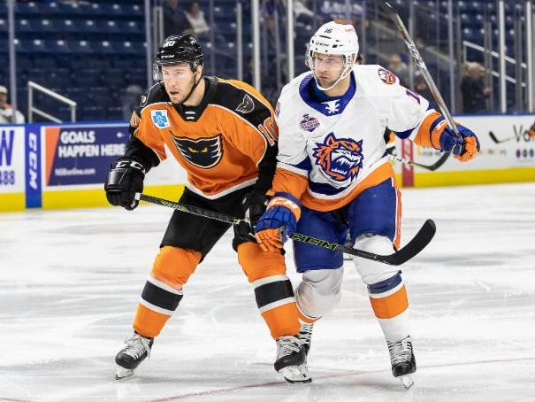Lehigh Valley Phantoms left wing Greg Carey against the Bridgeport Sound Tigers