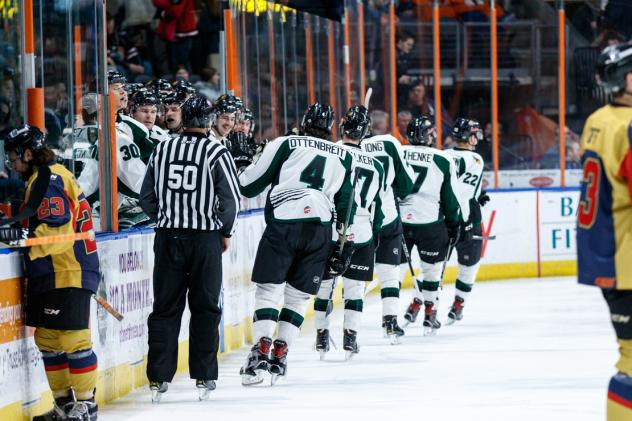 Utah Grizzlies exchange congratulations along the bench following a goal