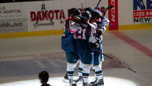 Sioux Falls Stampede celebrate a win against the Lincoln Stars