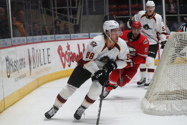Cleveland Monsters right wing Kole Sherwood against the Charlotte Checkers