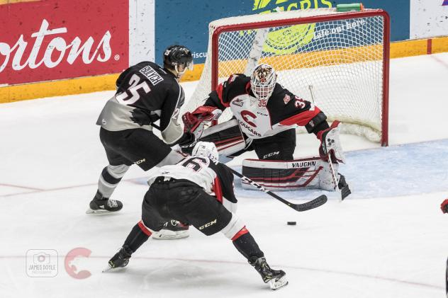 Vancouver Giants defenceman Kaleb Bulych looks for an opening against the Prince George Cougars