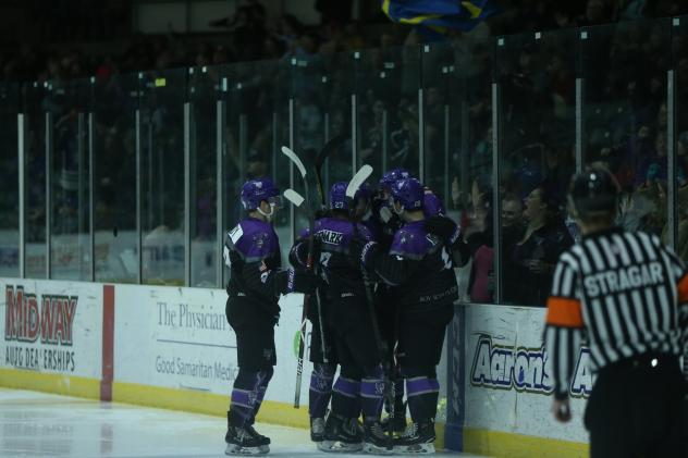 Tri-City Storm celebrates a goal against the Green Bay Gamblers