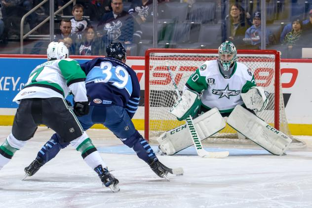 Texas Stars Goaltender Philippe Desrosiers faces the Manitoba Moose