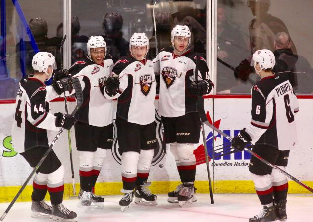 Vancouver Giants line up to celebrate a goal