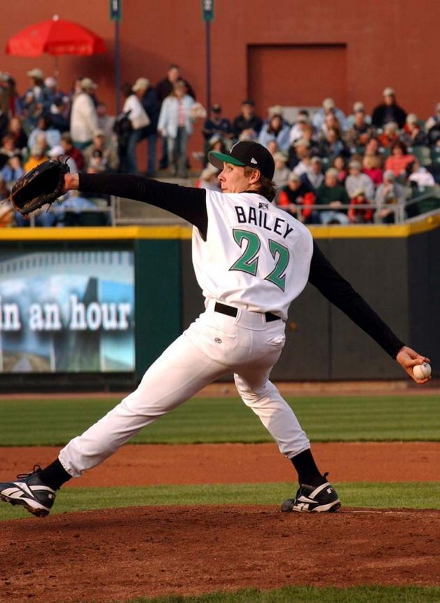 Homer Bailey pitching for the Dayton Dragons in 2005