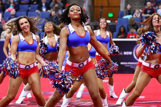 Texas Revolution Dance Team performs during a game