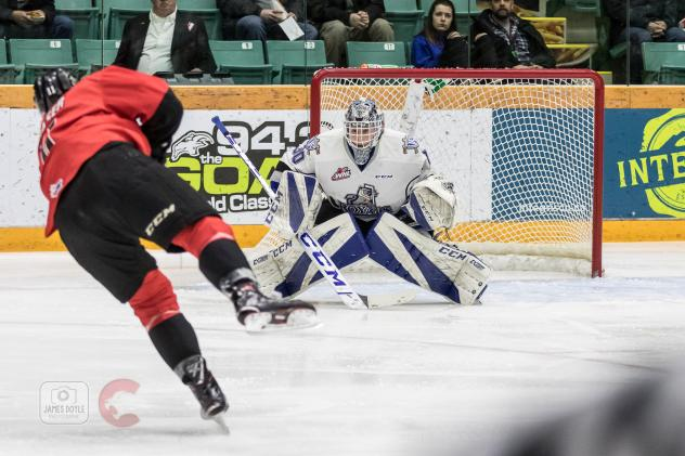 Prince George Cougars take a shot against the Victoria Royals