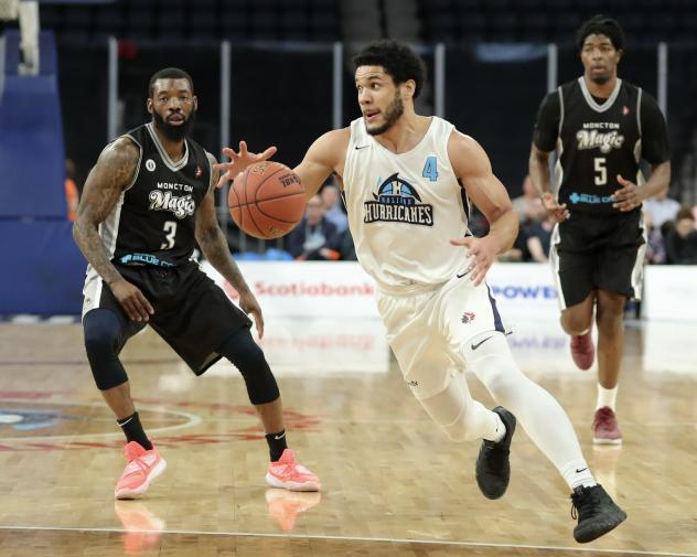 Halifax Hurricanes guard Malcolm Duvivier eyes an opening against the Moncton Magic