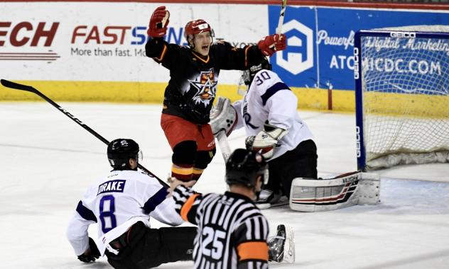 Allen Americans right wing Dante Salituro reacts after a goal against the Reading Royals