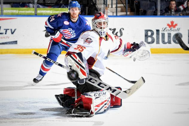 Cleveland Monsters goaltender Jean-Francois Berube vs. the Rochester Americans