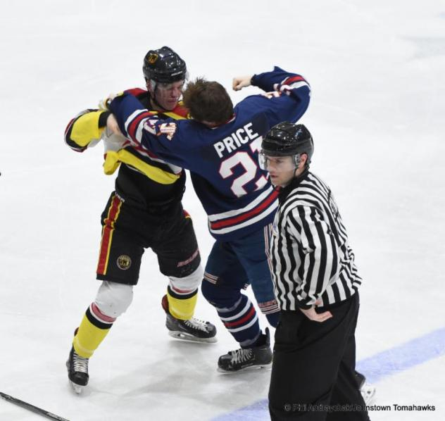 Johnstown Tomahawks forward Carson Briere in a tussle