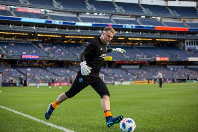 Goalkeeper Jeff Caldwell with New York City FC