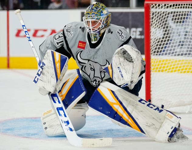 Goaltender Jordan Binnington with the San Antonio Rampage