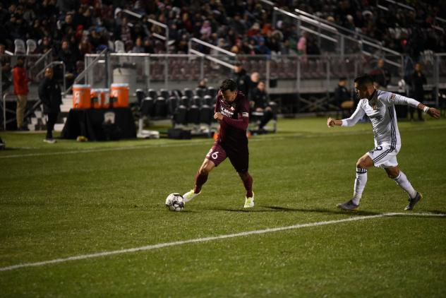 Sacramento Republic FC defender Elliott Hord with the ball against Real Monarchs SLC