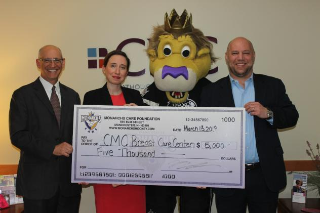 Monarchs Care presents check to CMC Breast Care Center