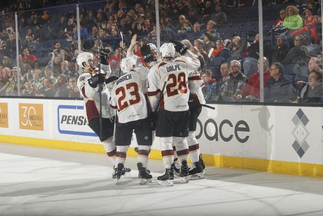 Cleveland Monsters celebrate at Chicago