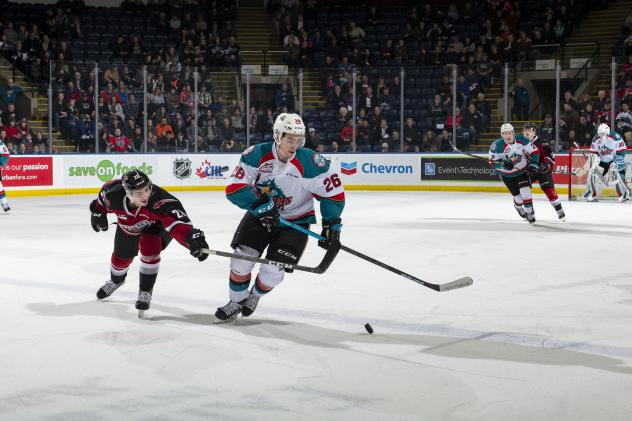 Kelowna Rockets right wing Liam Kindree vs. the Vancouver Giants